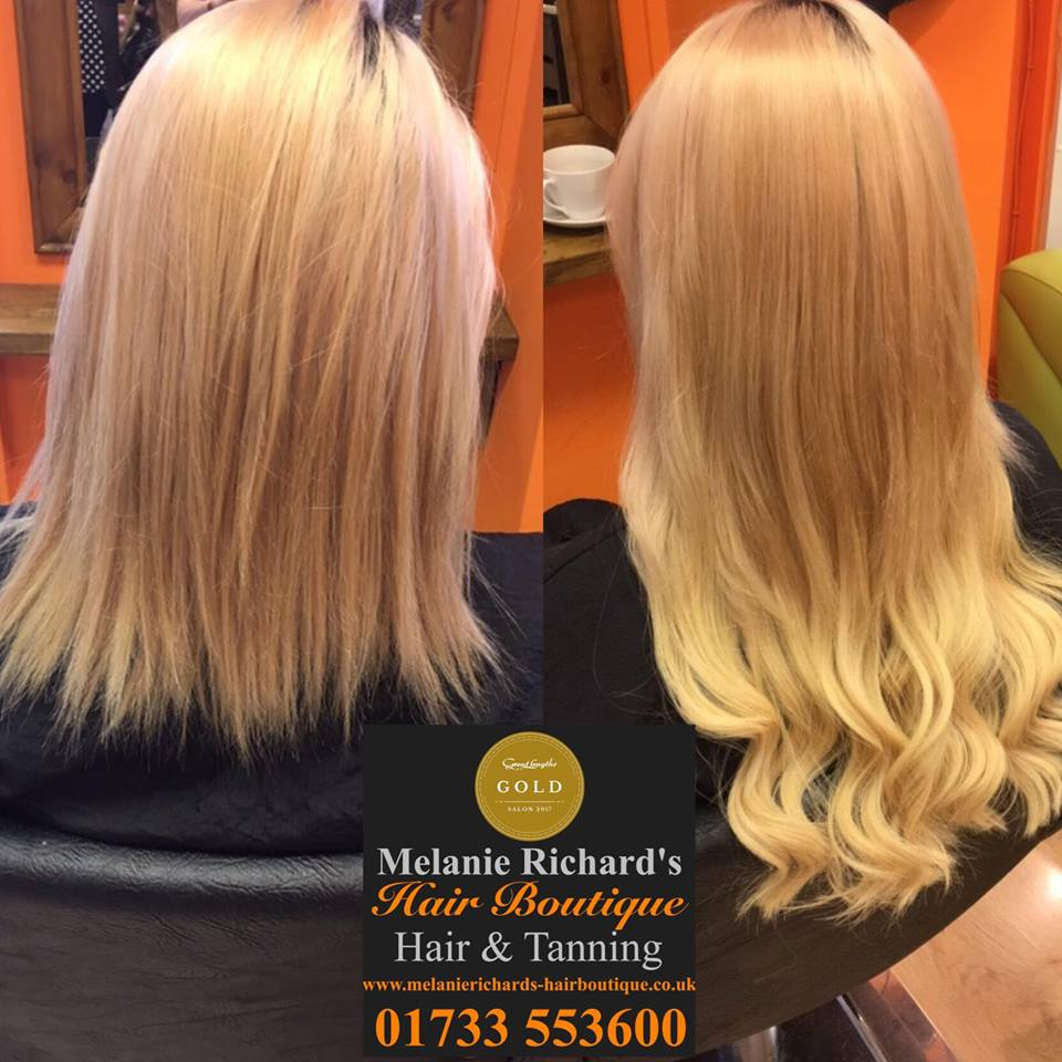 ombre hair colour with extensions at Melanie Richard's hair salon in Peterborough