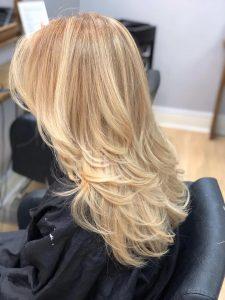 blonde hair colour at melanie richards hair salon peterborough