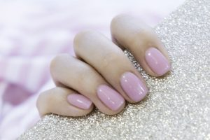 pearlescent pink nails Gel Nails & Gel Extensions at melanie richards beauty salon peterborough