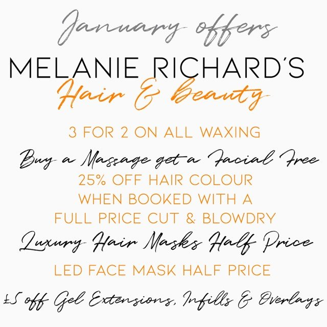 january hair and beauty offers in peterborough at melanie richards hair and beauty salon