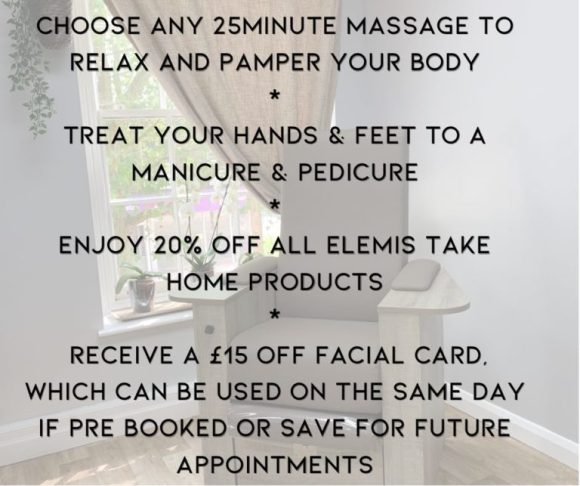 mothers day pamper packages at Melanie Richard's hair and beauty salon in Peterborough