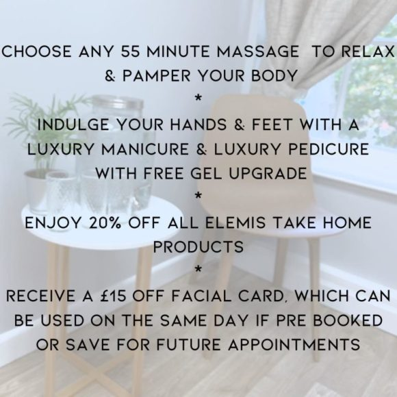 mothers day pamper packages at Melanie Richards hair and beauty salon in Peterborough